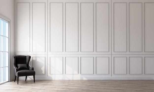 Интерьер комнаты с серым креслом, белыми прямоугольными узорами стен и светлым деревянным полом 3d рендеринга