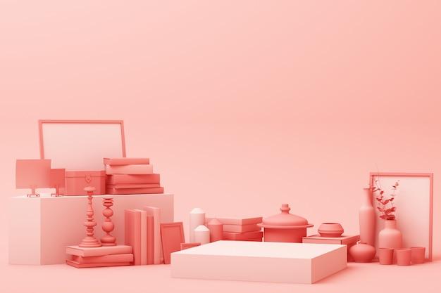 Сцена цвета абстрактной геометрической формы пастельного розового цвета минимальная с украшением и опорой, дизайном для косметики или подиумом дисплея продукта 3d представляет