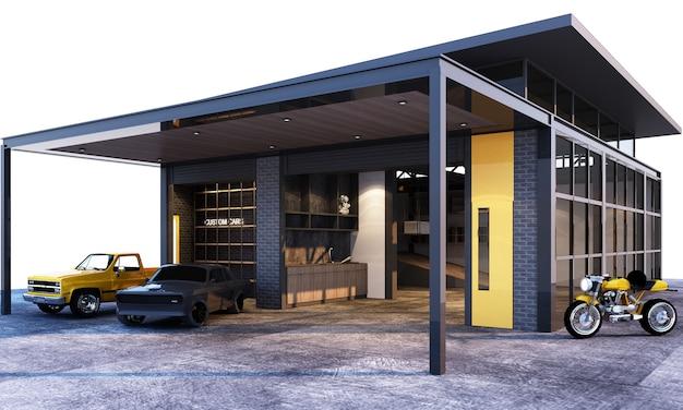 Экстерьер и интерьер гаража в индустриальном стиле лофт с 3d рендерингом автомобилей