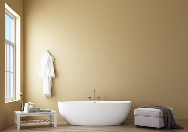 Дизайн ванной комнаты современный и лофт с желтой стеной 3d рендеринга