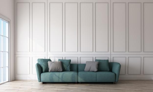 Интерьер комнаты с зеленым диваном, белым прямоугольным рисунком стен и светлым деревянным полом 3d рендеринга