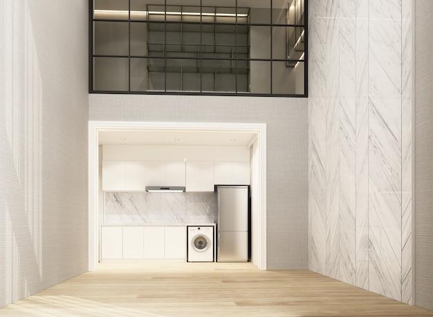 木製の床と大理石のパターンの壁を備えたダブルスペースのリビングとダイニングエリアは、メザニン作業エリアのインテリア3dレンダリングを飾ります