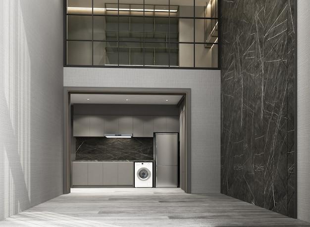 Двойное пространство гостиной и столовой с деревянным полом и мраморным рисунком стены украшают рабочую зону мезонина интерьер 3d рендеринга