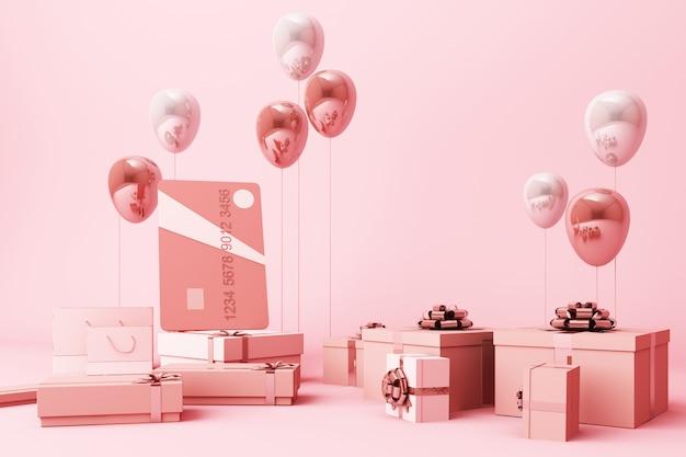 Розовая кредитная карта, окруженная большим количеством 3d-рендеринга подарочных коробок и воздушных шаров