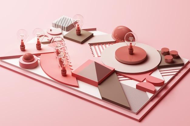 Концепция лампочки абстрактная композиция из геометрических фигур платформ в пастельных розовых тонах 3d-рендеринга