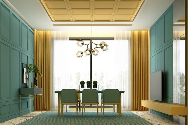 Интерьеры изображения сцены дизайн желтого и зеленого тона современная роскошная столовая с классическим элементом детали отделка стен и комплект мебели 3d-рендеринга