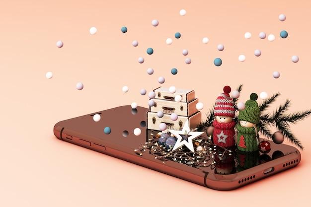 Мобильный телефон с елочными игрушками и подарками рядом с розовым 3d рендеринг
