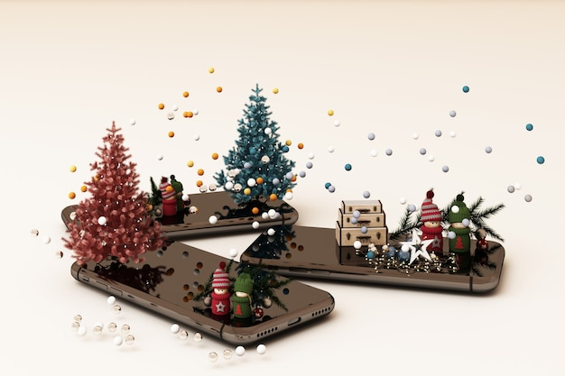 Мобильный телефон с елочными украшениями елки и подарки рядом на белом 3d-рендеринга