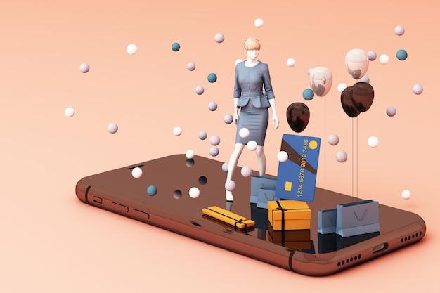 Манекен на смартфоне в окружении хозяйственной сумки и подарочной коробке с кредитной картой на розовом фоне 3d-рендеринга