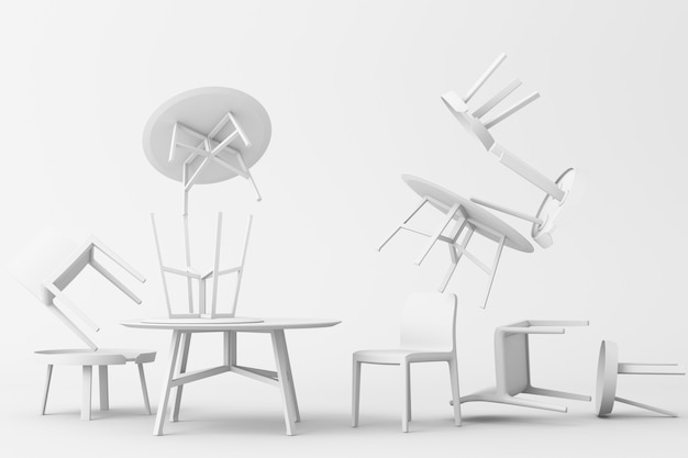 Много стульев и журнальный столик в белом цвете тон 3d-рендеринга