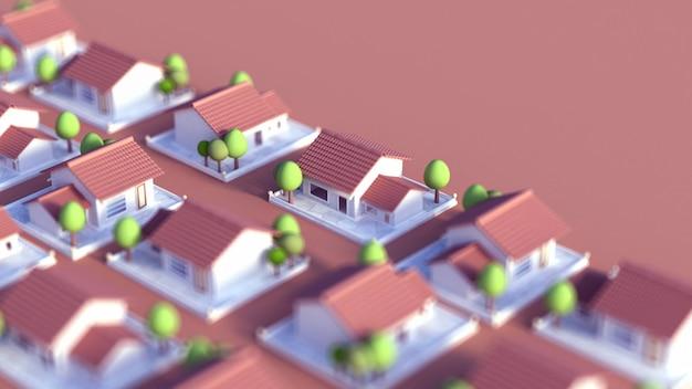 Коттеджный поселок 3d иллюстрации