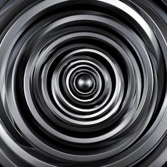 Футуристический металлик черный фон с кольцами. 3d-рендеринг.