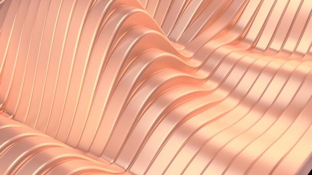 Розовый металлический фон с волнами и линиями. 3d-рендеринг.