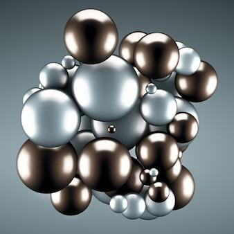 ボール付きの明るい灰色。 3dレンダリング。
