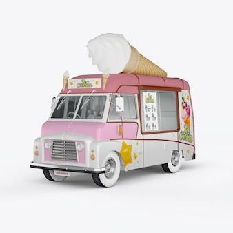 3d визуализации машины для мороженого на белом