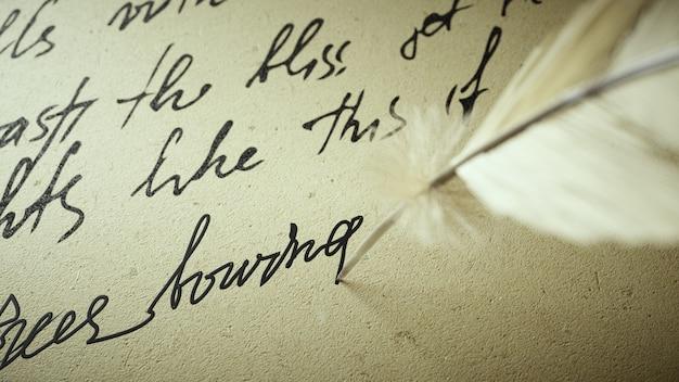 3d визуализация чернилами пишет стихи на старой бумаге