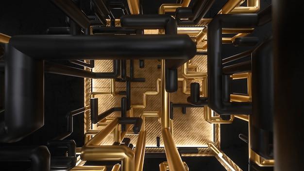 3d визуализация куб с золотой и черный лабиринт анимации внутри