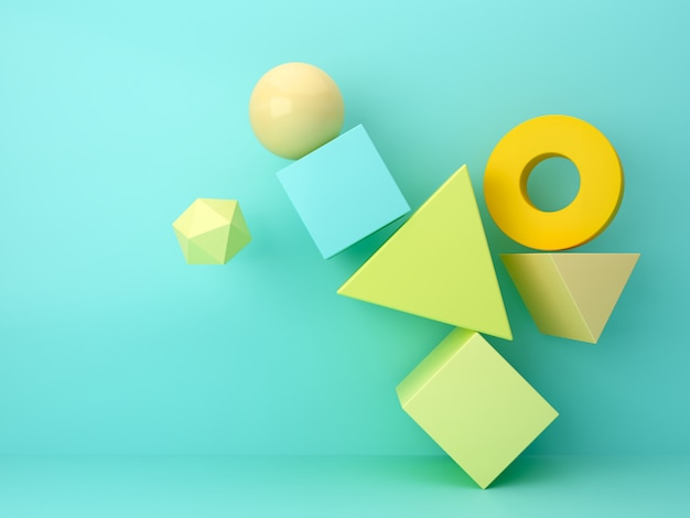 3d рендеринг абстрактная минимальная сцена с геометрическими формами