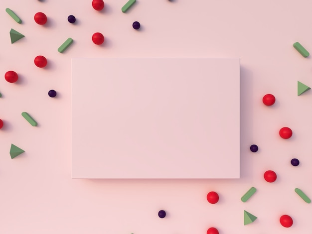 3dレンダリング。幾何学的なフォーム構成。パステルピンクの背景にピンク、緑、赤、白の形とピンクのフォトフレーム。