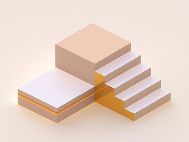 プラットフォームと階段のグループ。幾何学的な形のシーン。等尺性の視点。最小限の3dレンダリング
