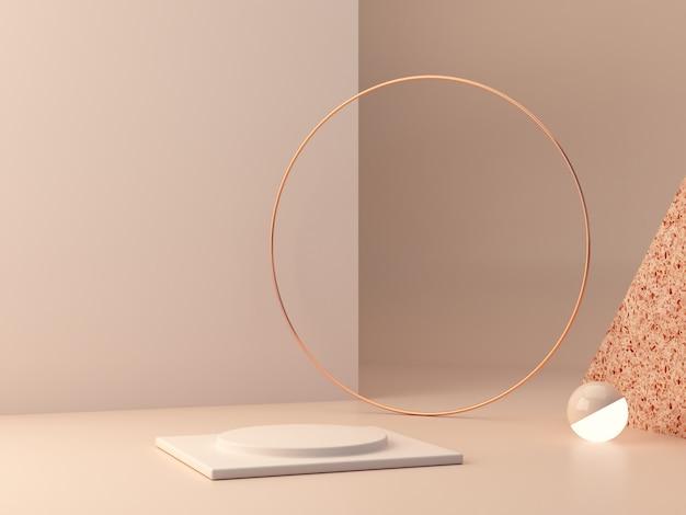 。幾何学的図形。パステルカラーのシーン。最小限の3dレンダリング。幾何学的形態とテクスチャのあるシーン