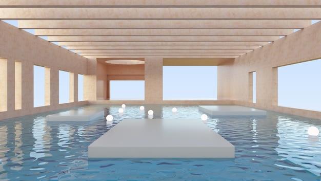 抽象的な未来的な建築。製品を表示するための表彰台のあるシーン。幾何学的な形の最小限のシーン。水に浮かぶプラットフォームとライト、エレガントなインテリア。 3dレンダー