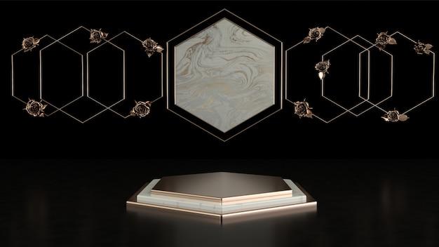 3d рендеринг черный подиум геометрии с элементами золота. абстрактные геометрические фигуры пустой подиум.