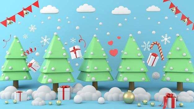 Геометрическая форма рождественская елка сцены концепция украшения 3d-рендеринга