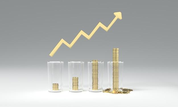 3d рендеринг изображения экономии денег монеты
