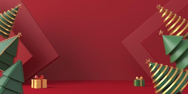 3d рендеринг рождественская елка с красным фоном