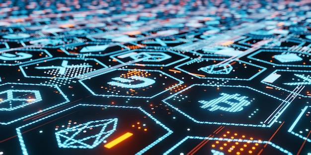 3d-рендеринг биткойн и других криптовалют привел к свечениям на темном глянцевом стеклянном табло с точками и линиями данных блокчейна.