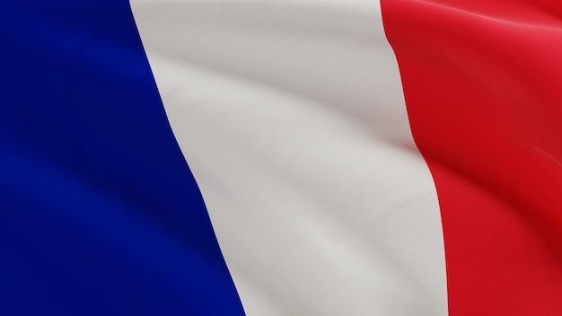 Флаг франции развевались на ветру, микротекстура ткани в качественной 3d визуализации