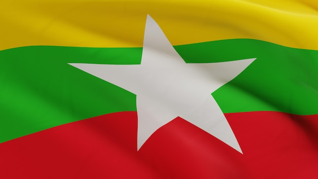 Флаг мьянмы развевался на ветру, микротекстура ткани в качественном 3d рендере