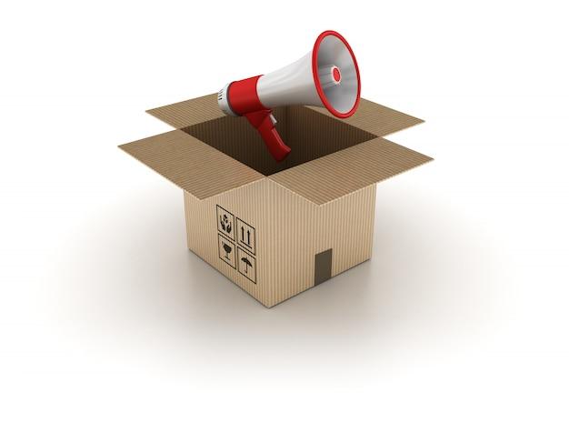 3d картонная коробка с мегафоном