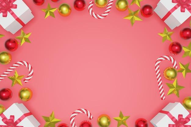 Предпосылка взгляд сверху рождества и нового года красная с рамкой космоса экземпляра, переводом 3d.