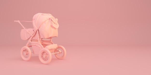 Минимальная иллюстрация детской коляски на розовом 3d визуализации