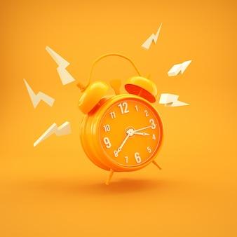 Простой желтый будильник минимализм дизайн 3d визуализации