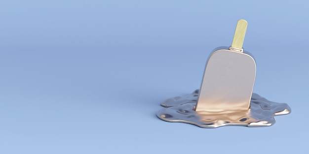 Мороженое на синем 3d визуализации