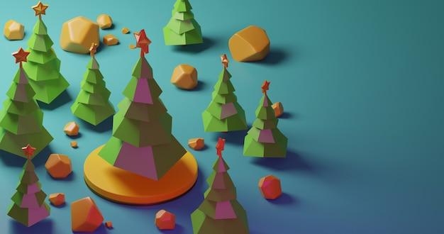 Рождественские елки в лесе на желтом этапе и желтых камнях, низком стиле поли. красочная 3d рендеринг праздник рождество новый год концепция
