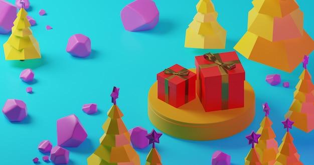 Желтые рождественские елки в лесе с красной подарочной коробкой на желтом этапе и фиолетовых камнях, низком поли стиле. красочная 3d рендеринг праздник рождество новый год концепция
