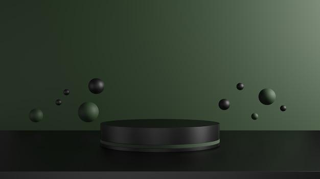 3d визуализации, черный и темно-зеленый постамент на зеленом фоне, в окружении сферы, абстрактное минимальное понятие, пустое пространство, роскошный минималистский