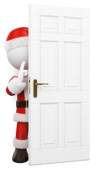 3d白人。閉まるドアの後ろに隠れているサンタクロース