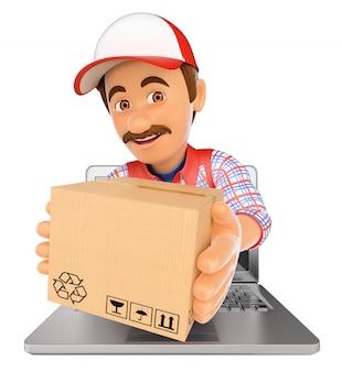 3d доставка человек выходит экран ноутбука с пакетом