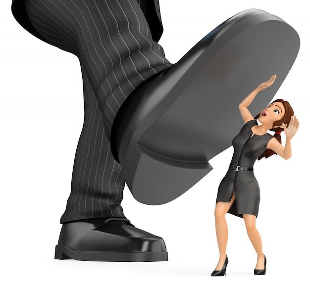 3d деловая женщина под гигантской ногой человека. гендерное неравенство