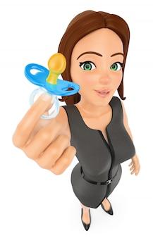 3d деловая женщина с соской. баланс работы и жизни