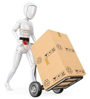 段ボール箱でカートを押す3dヒューマノイドロボット