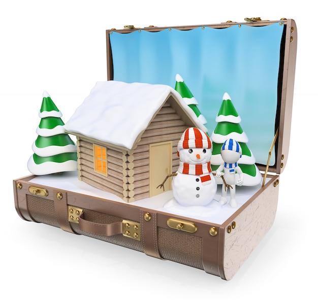 3d белые люди. направления путешествий. снег зимние каникулы
