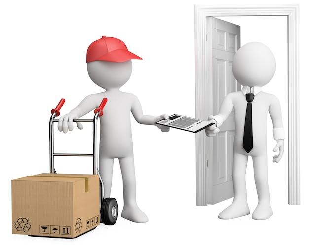 3d работник доставляет посылку