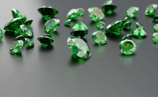 3d визуализация зеленых драгоценных камней на сером фоне