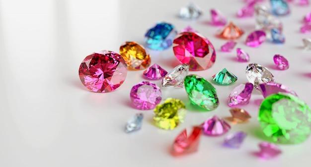 3d визуализация красочных драгоценных камней на белом фоне